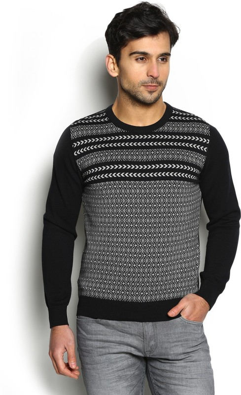 Blackberrys Self Design Round Neck Casual Men Black Sweater