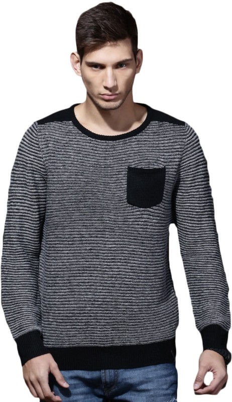 Roadster Self Design Round Neck Casual Men Black Sweater