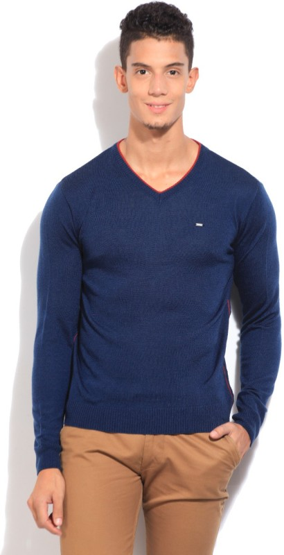 Lee Solid V-neck Casual Men Blue Sweater