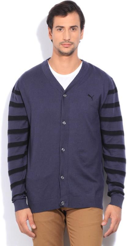 Puma Solid Casual Men Black, Dark Blue Sweater