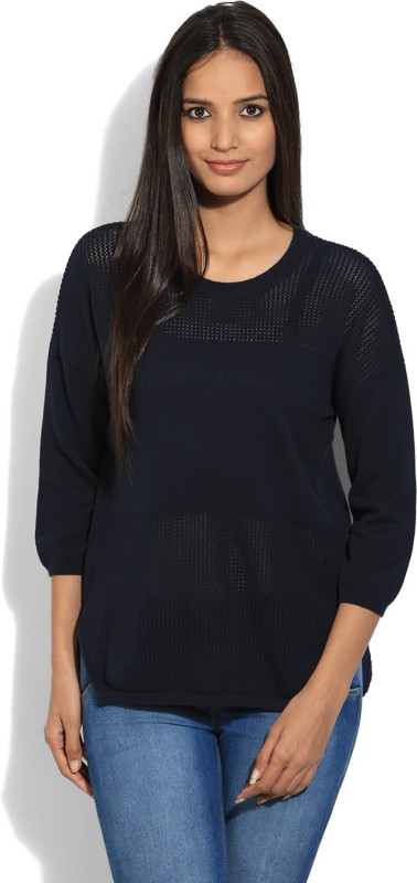 United Colors of Benetton. Solid Round Neck Casual Women Blue sweater
