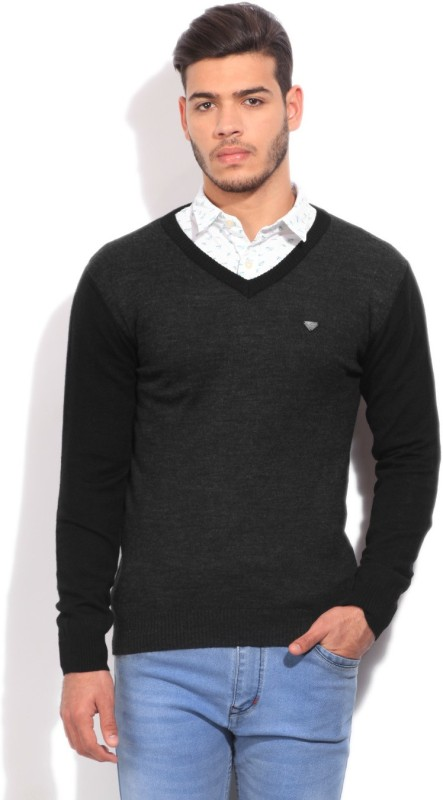 Pepe Jeans Solid V-neck Casual Men Black, Grey Sweater
