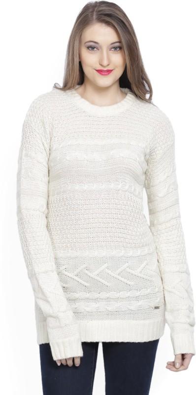 Pepe Jeans Self Design Round Neck Casual Women White Sweater