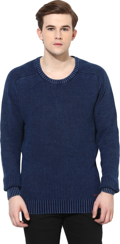 Spykar Solid Round Neck Casual Men Blue Sweater
