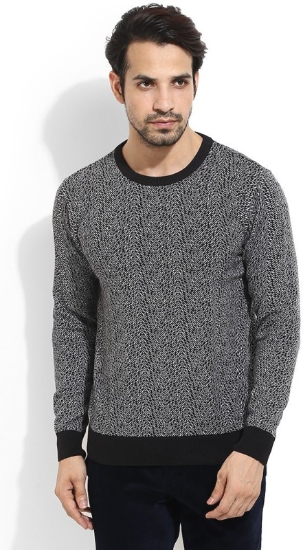Blackberrys Solid Round Neck Men Black Sweater