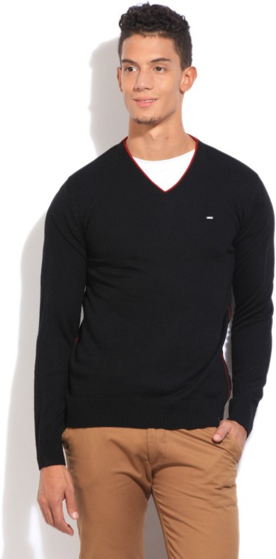 Lee Solid V-neck Casual Men Black Sweater