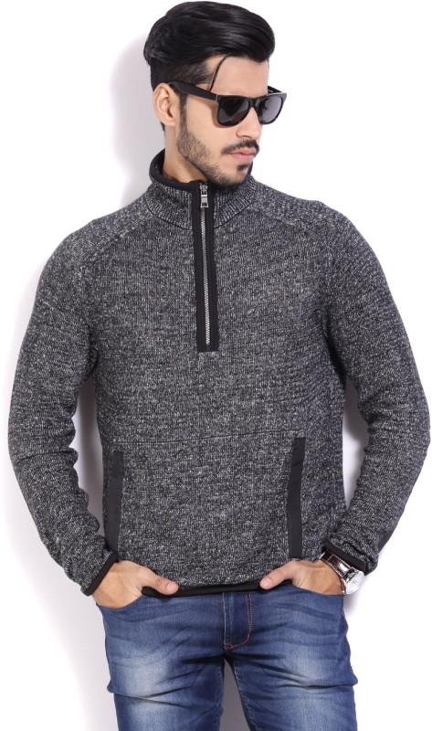 Nautica Solid Turtle Neck Casual Men Black Sweater