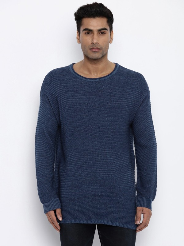 Roadster Self Design Round Neck Casual Men Blue Sweater