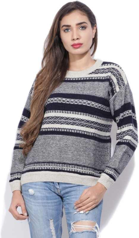 Pepe Jeans Striped Round Neck Casual Women Black, Beige Sweater