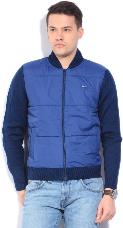 Wrangler Self Design Turtle Neck Casual Men Blue Sweater