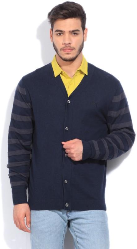 Puma Solid Casual Men Dark Blue Sweater