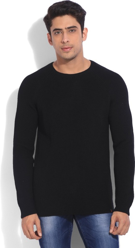 United Colors of Benetton Solid Round Neck Casual Men Black Sweater