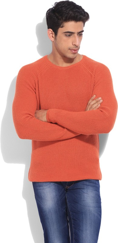 United Colors of Benetton Solid Round Neck Casual Men Orange Sweater