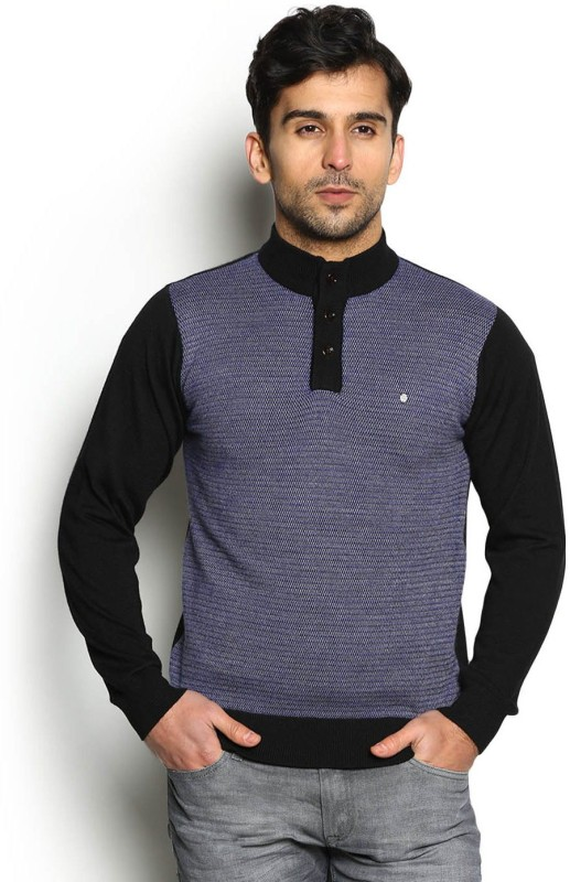 Blackberrys Self Design Round Neck Party Men Multicolor Sweater