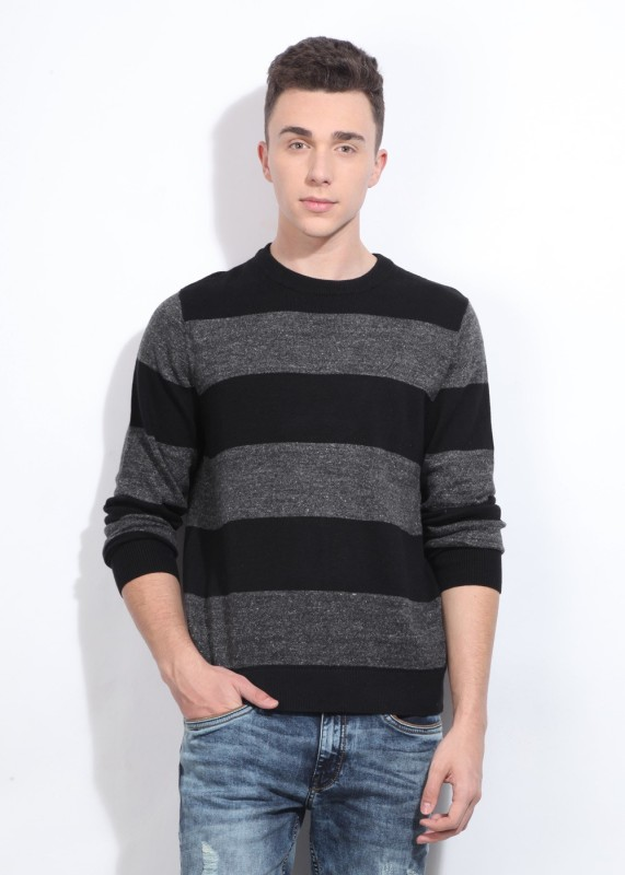 Nautica Round Neck Casual Men Black, Grey Sweater