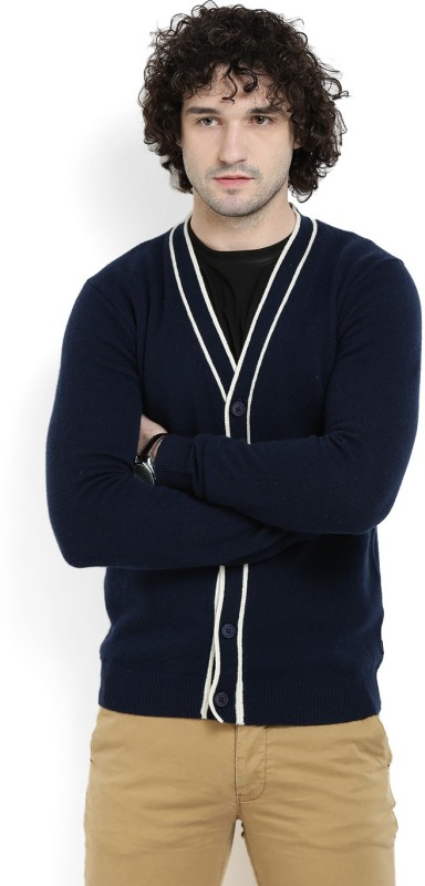 Gant Solid V-neck Casual Men Dark Blue Sweater
