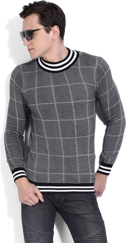 United Colors of Benetton Checkered Round Neck Casual Men Black Sweater