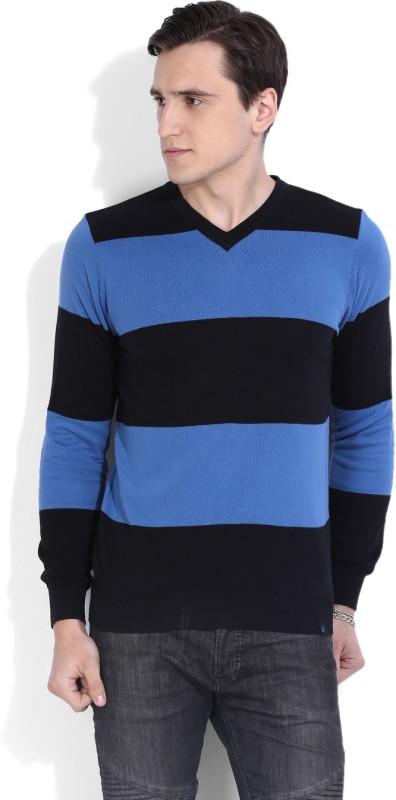 United Colors of Benetton Striped V-neck Casual Men Black Sweater