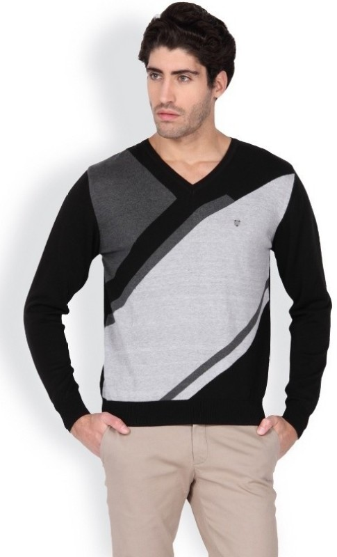 Blackberrys Printed V-neck Men Black Sweater