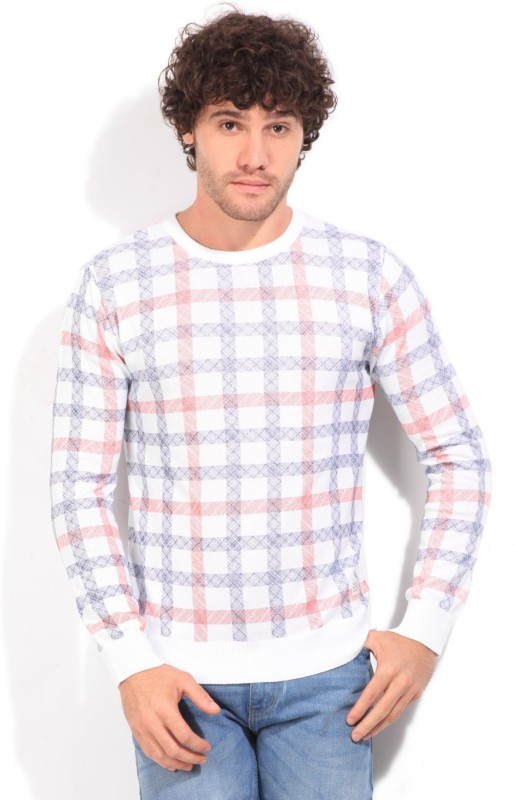 United Colors of Benetton Checkered Round Neck Casual Men White, Blue, Red Sweater