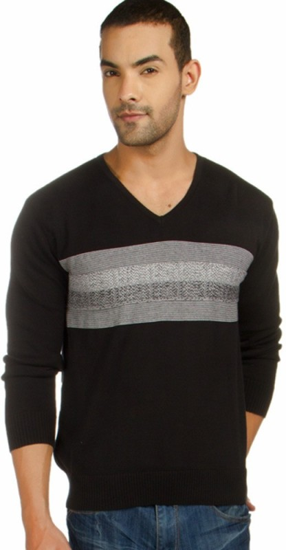 Provogue Striped V-neck Casual Men Black Sweater