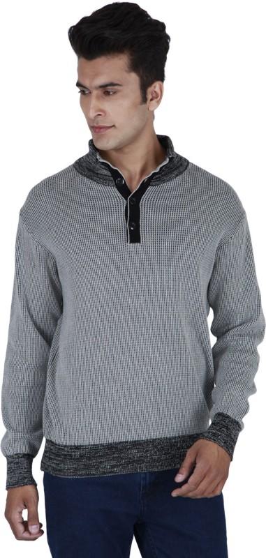 Provogue Solid Cowl Neck Casual Men Grey Sweater