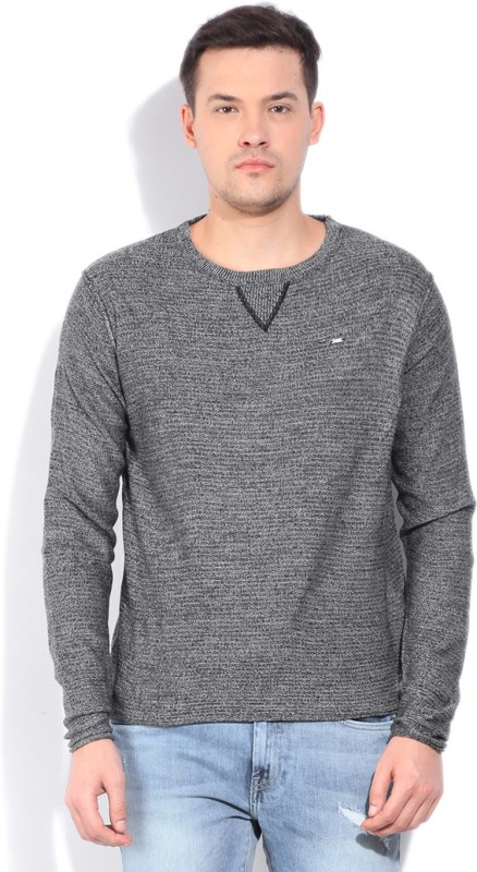 Lee Self Design Round Neck Casual Men Grey Sweater