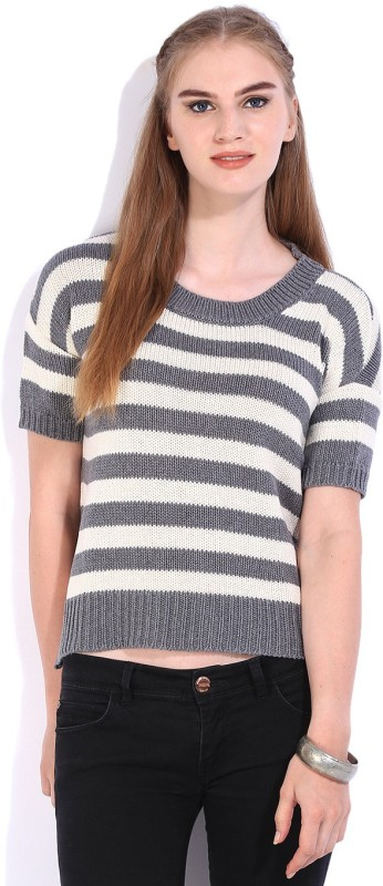 Lee Striped Round Neck Casual Women White, Grey Sweater