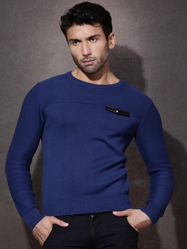 Roadster Solid Round Neck Casual Men Blue Sweater