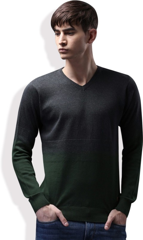 WROGN Self Design V-neck Casual Men Grey, Green Sweater