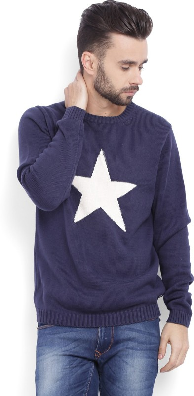 Gant Woven Crew Neck Casual Men Dark Blue Sweater