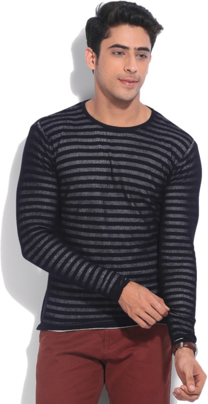 United Colors of Benetton Striped Round Neck Casual Men White, Black Sweater