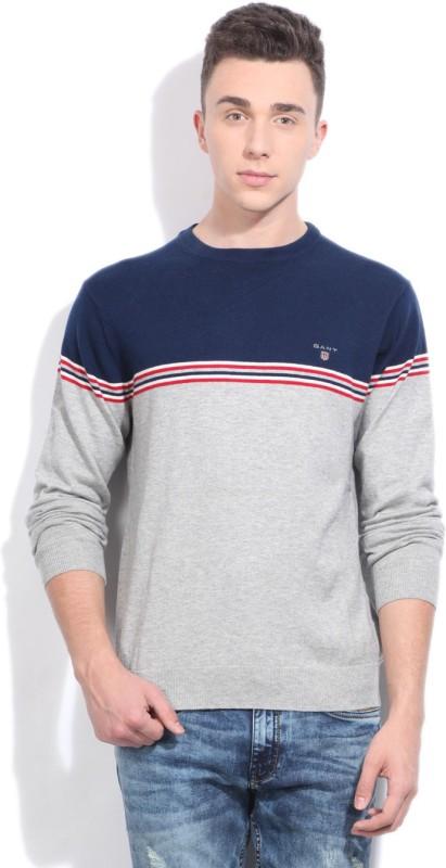 Gant Round Neck Casual Men Grey, Dark Blue Sweater