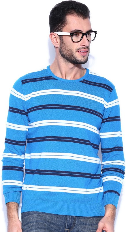 Kook N Keech Striped Round Neck Casual Men Blue Sweater