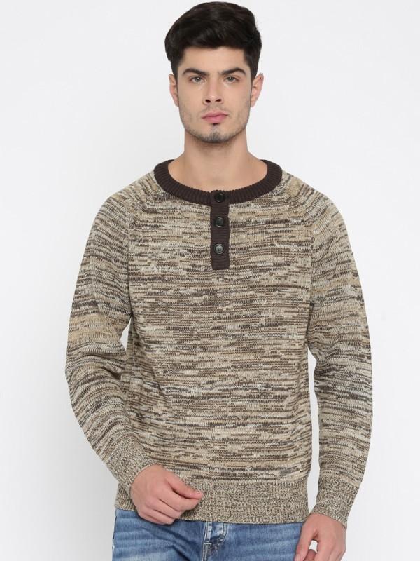 Roadster Self Design Round Neck Casual Men Brown, Beige Sweater