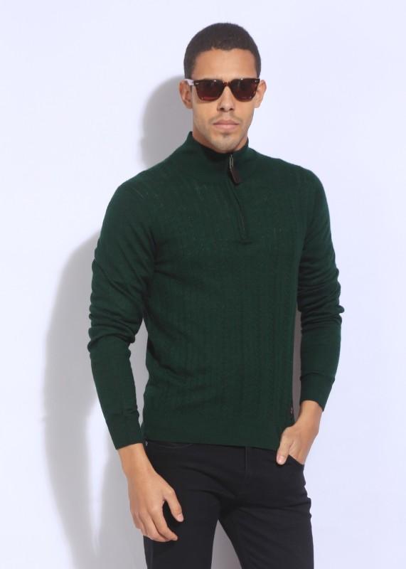 U.S. Polo Assn Self Design Casual Men Green Sweater