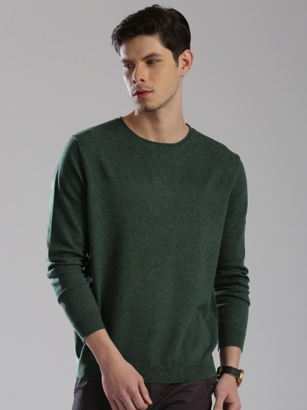 HRX by Hrithik Roshan Solid Round Neck Casual Men Green Sweater