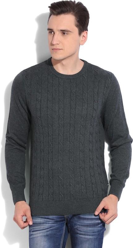 Nautica Self Design Round Neck Casual Men Grey Sweater