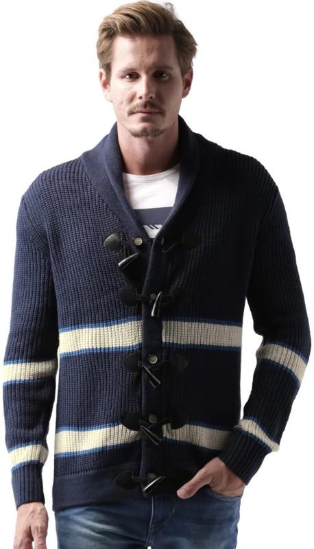 Mast & Harbour Self Design Round Neck Casual Men Dark Blue, White Sweater