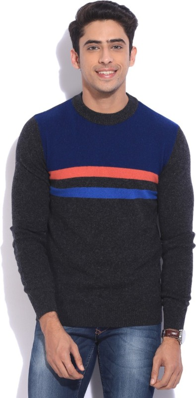 United Colors of Benetton Printed Round Neck Casual Men Grey, Blue Sweater