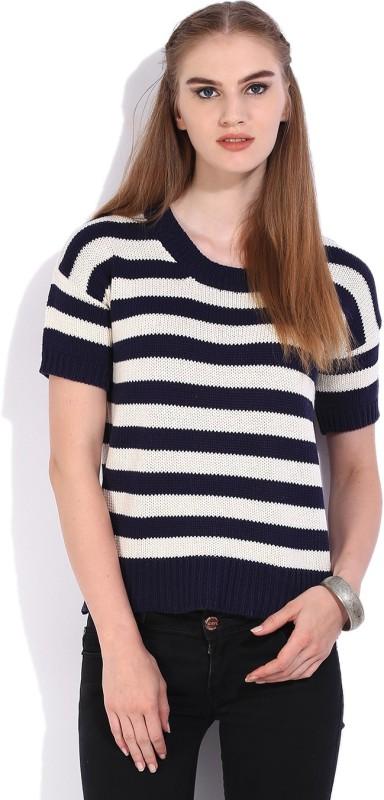 Lee Striped Round Neck Casual Women White, Dark Blue Sweater