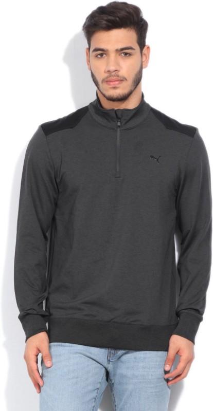 Puma Solid Casual Men Black, Grey Sweater