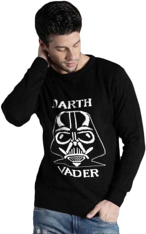 Kook N Keech Self Design Round Neck Casual Men Black Sweater