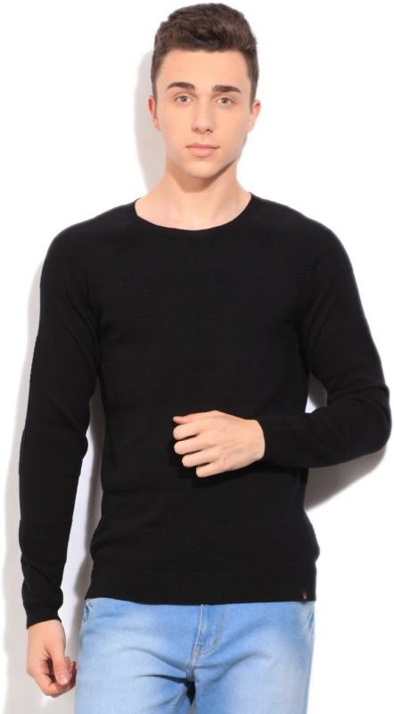 United Colors of Benetton Self Design Round Neck Casual Men Black Sweater