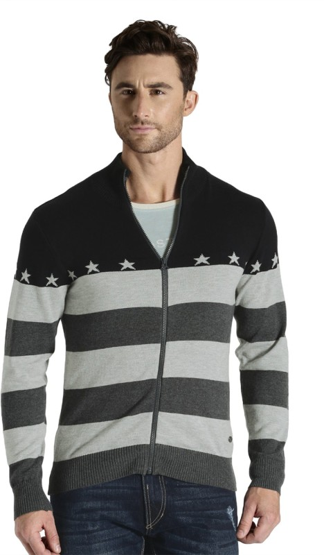 Roadster Self Design Round Neck Casual Men Black, Grey Sweater