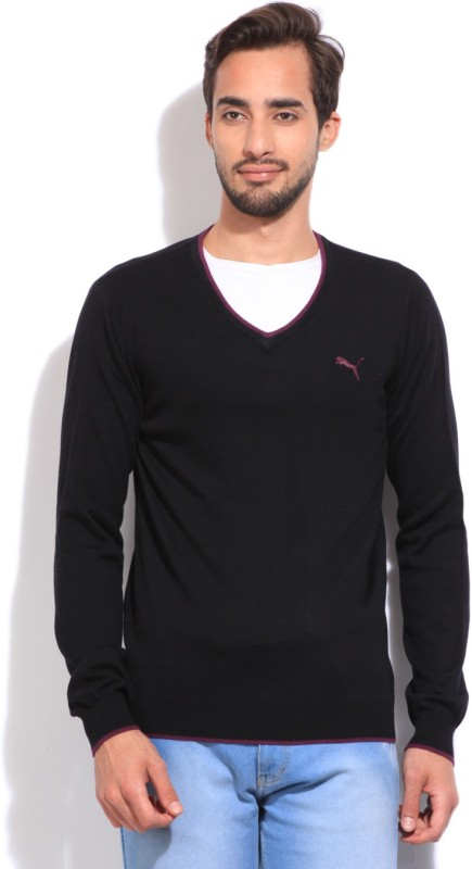 Puma Solid V-neck Casual Men Black sweater