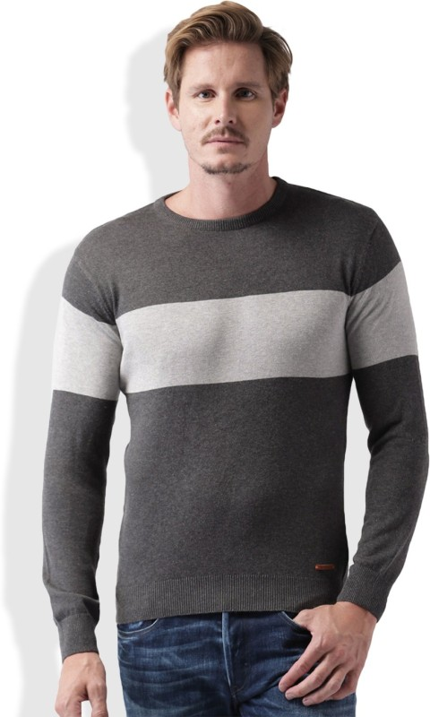 Mast & Harbour Self Design Round Neck Casual Men Grey Sweater