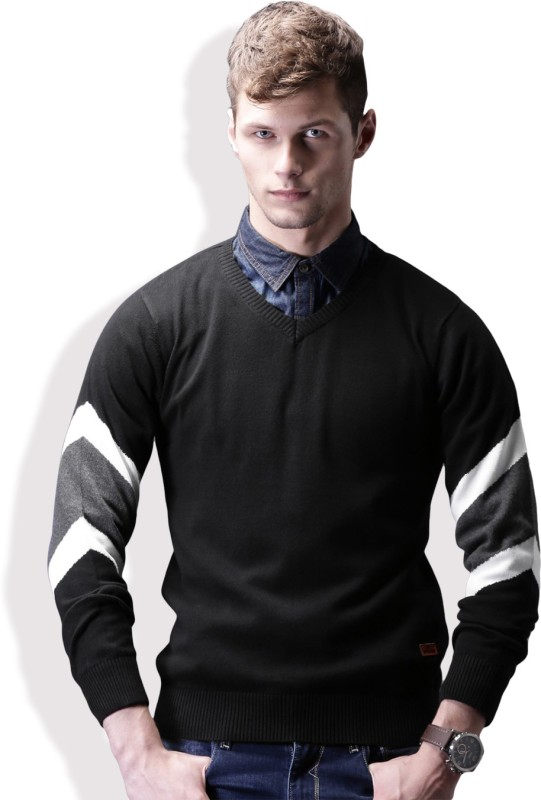 WROGN Solid V-neck Casual Men Black Sweater