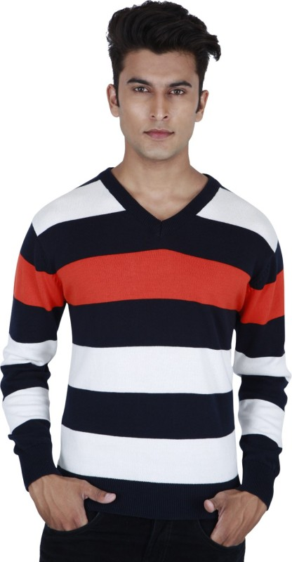 Provogue Striped V-neck Casual Men Orange Sweater