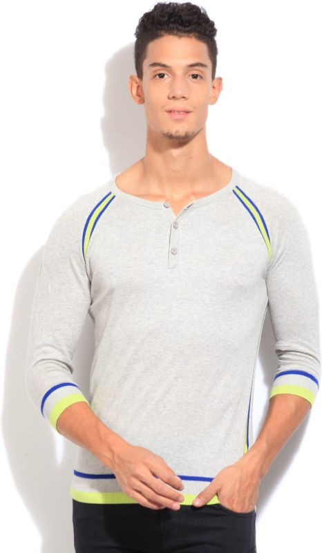 United Colors of Benetton Solid V-neck Casual Mens Beige Sweater